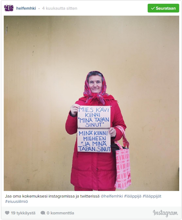 """Older woman holding two pieces of paper: """"A man caught up on me: 'I will kill you'"""" - """"I turned to the man: 'And I will kill you'"""" - The caption reads: Share your experiences on Instagram or Twitter"""