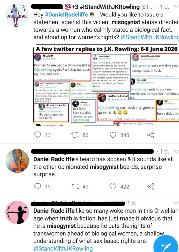 Image_ Twitter responses to Daniel Radcliffe
