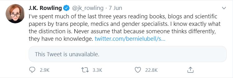 Image 2. J.K. Rowling's twitter account